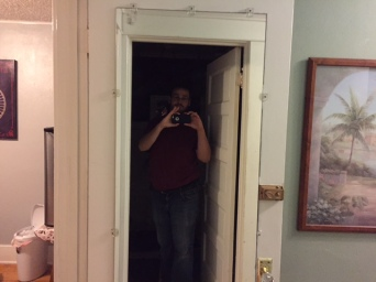 This is what I saw if my room door was open when coming out of the bathroom. I nearly had a heart attack.