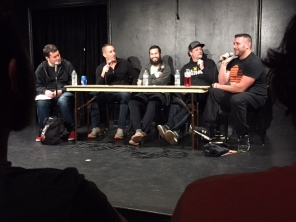 From L to R: Doug, Ben Bailey (Host of Cash Cab), Taylor Rizzo (comedian), Trey Galyon (comedian), and Colt Cabana (comedic wrestler).
