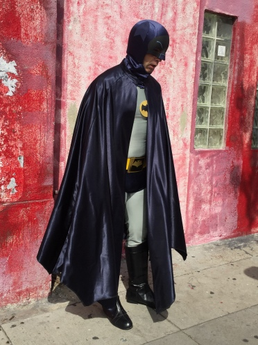Usually, Batman doesn't wear his cape over his shoulder like this, but this guy was ashamed of his Bat-Boobs.